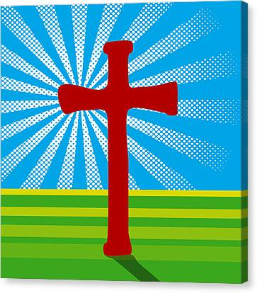 Jesus Christ Icon Canvas Print - Crucifix And Light by Alain De Maximy
