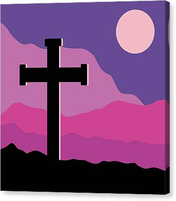 Jesus Christ Icon Canvas Print - Crucifix And Moon by Alain De Maximy