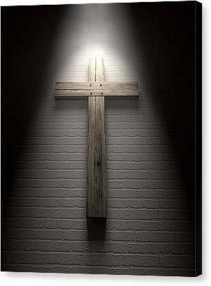 Crucifix On A Wall Under Spotlight Canvas Print