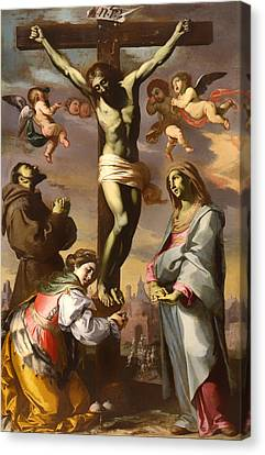 Crucifix With The Virgin And Saints Francis And Agatha Canvas Print by Mountain Dreams