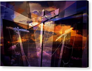 Crucifixion Crosses Composition From Clotheslines Canvas Print