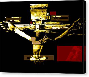 Crucifixion In Red Gold And Black Canvas Print by Karine Percheron-Daniels