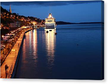 Cruise Liner At Cobh Harbour Canvas Print by Maeve O Connell