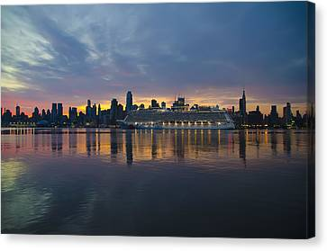 Cruise Liner On The Hudson At Dawn Canvas Print