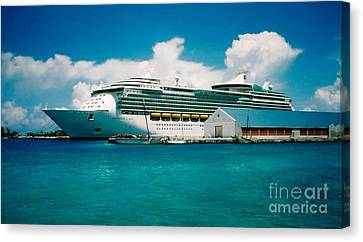 Cruise Ship Art Canvas Print by Ecinja Art Works