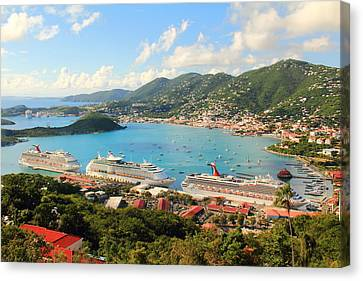 Cruise Ships In St. Thomas Usvi Canvas Print