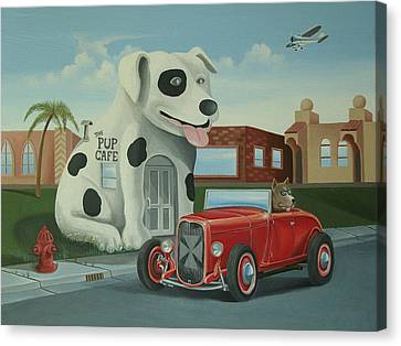 Cruisin' At The Pup Cafe Canvas Print by Stuart Swartz