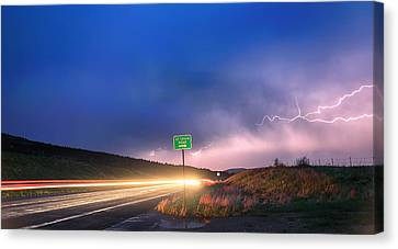 Cruising Highway 36 Into The Storm Canvas Print by James BO  Insogna
