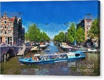Netherlands Canvas Print - Cruising In Amsterdam by George Atsametakis