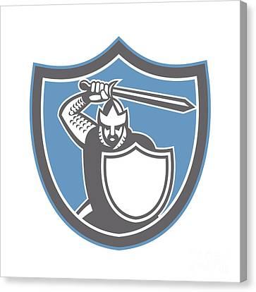Crusader Knight Brandish Sword Shield Retro Canvas Print by Aloysius Patrimonio