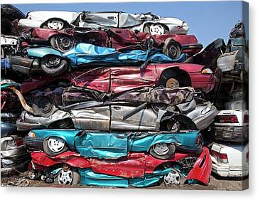 Crushed Cars At Scrapyard Canvas Print by Jim West