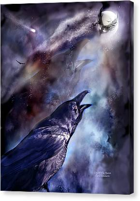 Cry Of The Raven Canvas Print by Carol Cavalaris