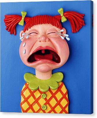 Crying Girl Canvas Print by Amy Vangsgard