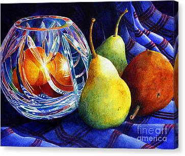 Crystal And Pears Canvas Print by Roger Rockefeller