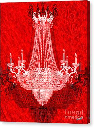 Crystal Chandelier On Red Canvas Print