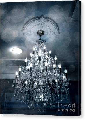 Crystal Chandelier Photo - Sparkling Twinkling Lights Elegant Romantic Blue Chandelier Photograph Canvas Print by Kathy Fornal