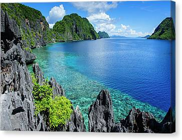 Crystal Clear Water In The Bacuit Canvas Print by Michael Runkel