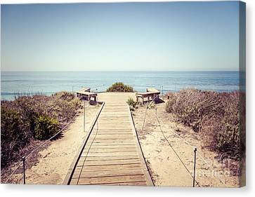 Crystal Cove Overlook Retro Picture Canvas Print by Paul Velgos