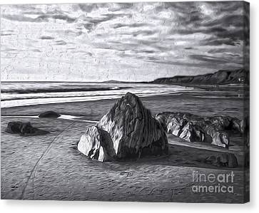 Canvas Print featuring the painting Crystal Cove Sea Shore - Black And White by Gregory Dyer