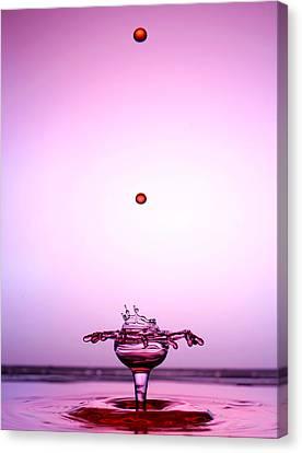 Crystal Cup Water Droplets Collision Liquid Art 2 Canvas Print by Paul Ge