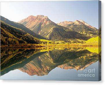 Crystal Lake And Red Mountain Canvas Print by Alex Cassels