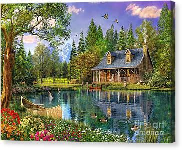 Crystal Lake Cabin Canvas Print by Dominic Davison