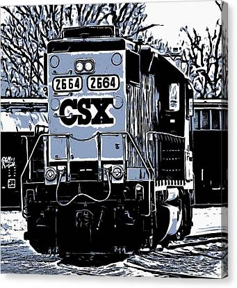 Csx Train Canvas Print - Csx Train Comic Graphic by Dan Sproul