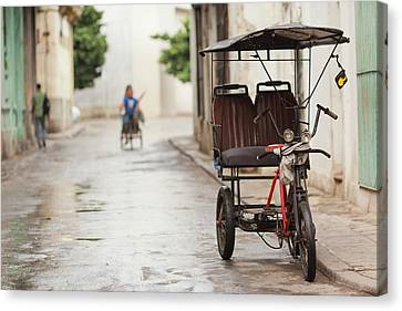 Cuba, Havana, Havana Vieja, Pedal Taxi Canvas Print by Walter Bibikow