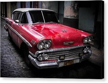 Cuban Vintage Red Canvas Print by Karen Wiles