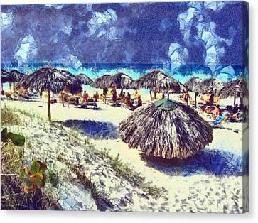 Cuban Beach Canvas Print by Odon Czintos