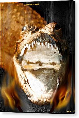 Canvas Print featuring the digital art Cuban Crocodile by Daniel Janda