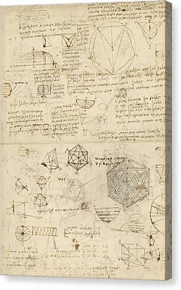 Ink Drawing Canvas Print - Cube Sphere Icosahedron Mention Of Known Project For Telescope  by Leonardo Da Vinci