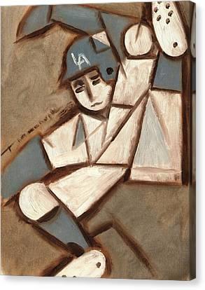 Dodgers Canvas Print - Cubism La Dodgers Baserunner Painting by Tommervik