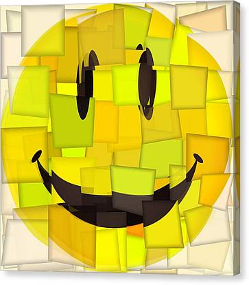 Cubism Smiley Face Canvas Print