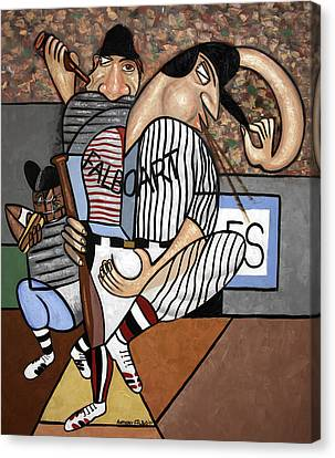 Cubist Baseball Canvas Print by Anthony Falbo