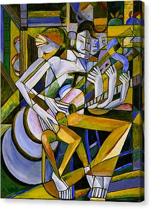 Cubist Descending Guitar Yellow Canvas Print