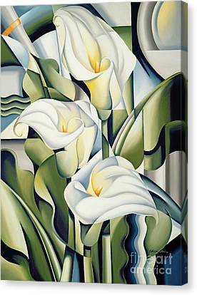 White Flower Canvas Print - Cubist Lilies by Catherine Abel