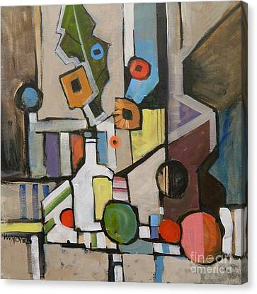 Cubist Still Life With A Guitar Canvas Print by Micheal Jones
