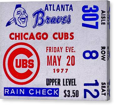 Cubs At Braves 1977 Canvas Print by Benjamin Yeager