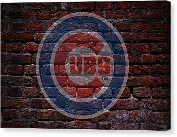 Cubs Baseball Graffiti On Brick  Canvas Print by Movie Poster Prints