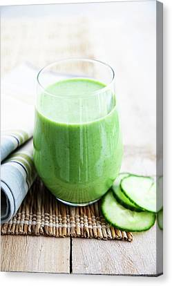 Apple Canvas Print - Cucumber Apple And Kale Smoothie by Gustoimages