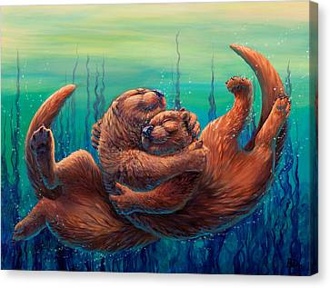 Otter Canvas Print - Cuddles And Bubbles by Beth Davies