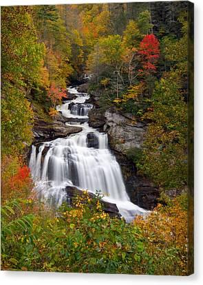 Western North Carolina Canvas Print - Cullasaja Falls - Wnc Waterfall In Autumn by Dave Allen
