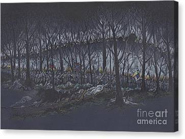 Culp's Hill Assault Canvas Print by Scott and Dixie Wiley