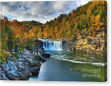 Storm Canvas Print - Cumberland Falls In Autumn by Mel Steinhauer