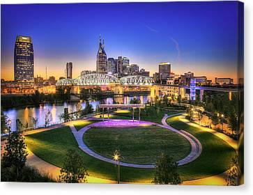 Nashville Skyline Canvas Print - Cumberland Park And Nashville Skyline by Lucas Foley