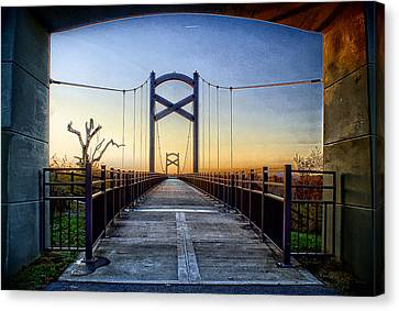 Cumberland River Pedestrian Bridge Canvas Print by Patrick Collins