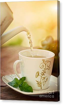 Cup Of Tea Canvas Print by Mythja  Photography