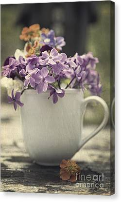Cup Of Wildflowers Canvas Print by Edward Fielding