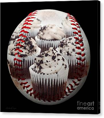 Cupcake Cuties Baseball Square Canvas Print by Andee Design